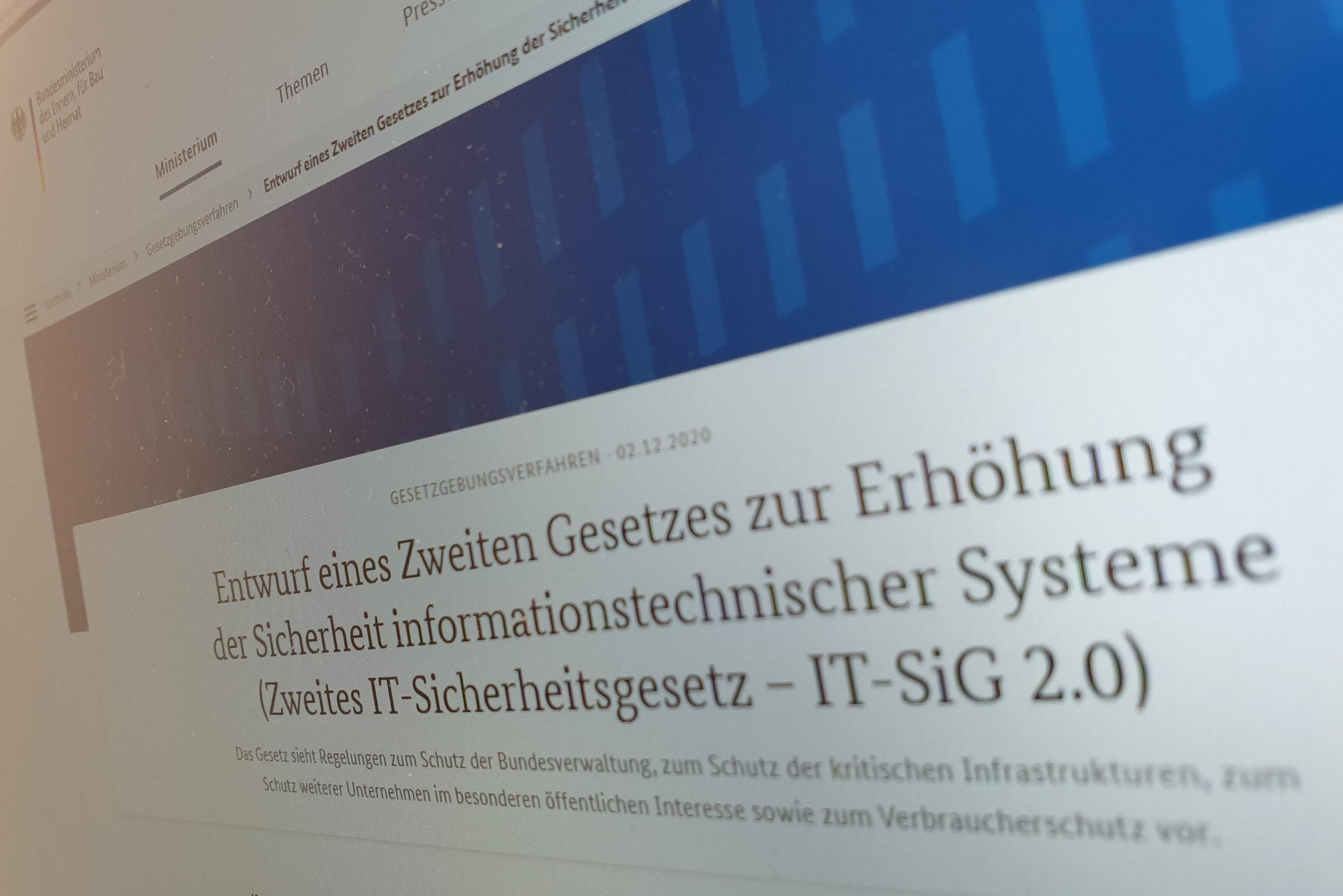 Stellungnahme IT SiG 2.0